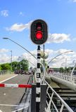 Traffic light on a bridge that moves apart. stock photography
