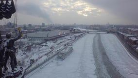 Zangão bonito aéreo 4k do helicóptero de Moscou video estoque