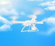 Zangão branco moderno que paira em um céu azul brilhante 3d Imagens de Stock