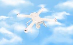 Zangão branco moderno que paira em um céu azul brilhante 3d Imagem de Stock