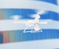 Zangão branco moderno que paira em um céu azul brilhante 3d Imagem de Stock Royalty Free