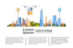 Zangão da entrega com pacote sobre o fundo da cidade Bandeira rápida Infographic do molde do conceito do transporte aéreo ilustração stock