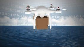 Zangão da entrega e códigos binários contra o céu nebuloso e o oceano ilustração stock