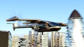 Zangão de Taxy do voo que atravessa a cidade animação de 4k 3d ilustração royalty free
