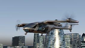 Zangão de Taxy do voo que atravessa a cidade animação de 4k 3d ilustração do vetor