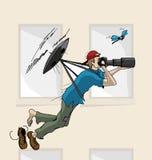 Zangão de voo tirado mão com fotógrafo ilustração do vetor