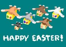 Zangão do coelho que leva o ovo da páscoa Imagens de Stock Royalty Free
