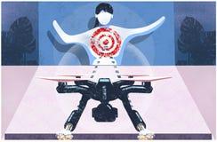 Zangão que visa uma ilustração humana ilustração do vetor