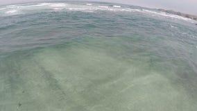 Zangão que voa sobre ondas de oceano Califórnia do norte filme