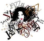 Zanger op een jazzachtergrond Stock Afbeelding