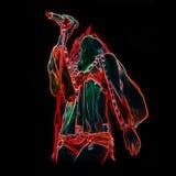 Zangermeisje van neonlicht wordt gemaakt dat stock foto