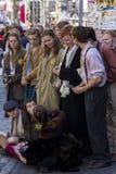 Zangers en musici bij het Randfestival, Edinburgh, Schotland royalty-vrije stock foto