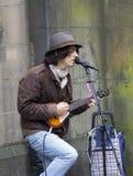 Zangers en musici bij het Randfestival, Edinburgh, Schotland stock foto's