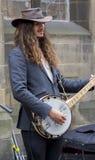 Zangers en musici bij het Randfestival, Edinburgh, Schotland stock foto
