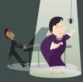 Zangervrouw en een pianist in het overleg stock illustratie