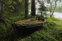 Zaniechana łódź w drewnach zdjęcie stock