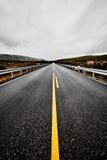 Zaniechana droga przez pustkowia Norwegia z asfaltem, lasem i górami, Zdjęcia Stock