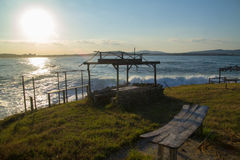 Zaniechana morze baru kawiarnia beachbar fotografia royalty free