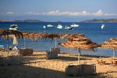 Zaniechana plaża, Ouranoupoli, Halkidiki, Grecja Zdjęcia Stock