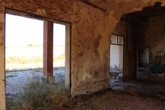 Zaniechana stacja kolejowa w Albacete zdjęcia royalty free