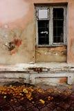 Zaniechana stara budynek powierzchowność z obieranie farby brudnym ściennym okno i spadać żółtymi liśćmi Fotografia Stock