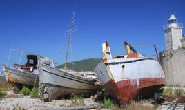 Zaniechane łodzie Obrazy Stock