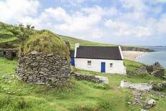 Zaniechanego domu wiejskiego Blasket Wielka wyspa, Irlandia Obraz Stock