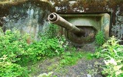 zaniechanego działa militarny stary pillbox zbiornik Fotografia Stock