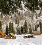 Zaniechani bela budynki w śniegu Zdjęcia Royalty Free