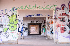 Zaniechani budynki Militarna baza Zdjęcie Stock