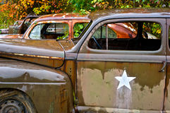 Zaniechani dżonka samochody z rzędu Zdjęcie Royalty Free