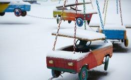 Zaniechany carousel w zima czasie Obrazy Royalty Free