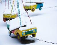 Zaniechany carousel w zima czasie Zdjęcie Stock