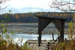 Zaniechany drewniany molo przy porosłym jeziorem zdjęcia stock