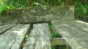 Zaniechany drewniany stół z ławką w górze zbiory