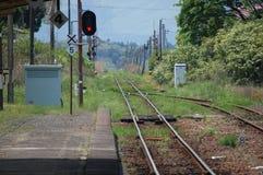 Zaniechany Kolejowy ślad blisko Aso, Japonia Zdjęcia Royalty Free