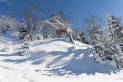 Zaniechany narciarski dźwignięcie obraz royalty free