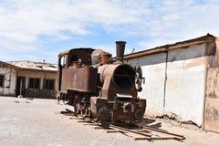 Zaniechany pociąg w Humberstone, zaniechany miasto w Chile Zdjęcie Stock
