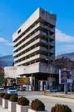 Zaniechany poprzedni Ljubljanska banka budynku snajpera wierza podczas Bośniackiej wojny w mieście, Bośnia i Herzegovina Mosta zdjęcia royalty free