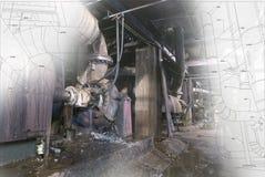 Zaniechany przemysłowego budynku w budowie pojęcie zdjęcie stock