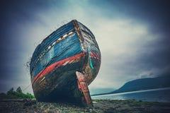 Zaniechany Shipwrek na brzeg w Szkocja obrazy royalty free