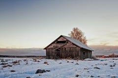 Zaniechany stajnia dom W Wczesnym zima zmierzchu Obraz Royalty Free
