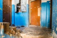 Zaniechany wnętrze w ruinach militarna ugoda Zdjęcia Stock