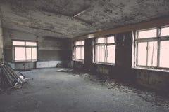 Zaniechany wnętrze w ruinach militarna ugoda - rocznika eff Obraz Stock