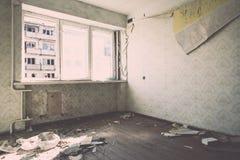 Zaniechany wnętrze w ruinach militarna ugoda - rocznika eff Zdjęcia Stock