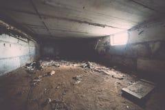 Zaniechany wnętrze w ruinach militarna ugoda - rocznika eff Fotografia Royalty Free
