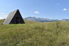 Zaniechanych bac tradycyjna drewniana buda i Durmitor góra w odległości Zdjęcie Stock