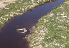 Zanieczyszczający Hevron strumień w Izrael fotografia royalty free