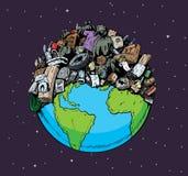 Zanieczyszczająca planeta ilustracja wektor