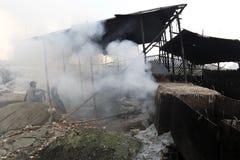 Zanieczyszczenia przy Hazaribagh garbarnią Bangladesz Fotografia Stock